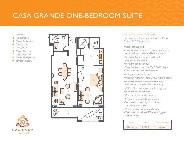 Casa Grande One-Bedroom Suite 1 2 3 4 5 6 7 8 9 Entrance Full bathroom Master bathroom Dining room Living room Master bedr...