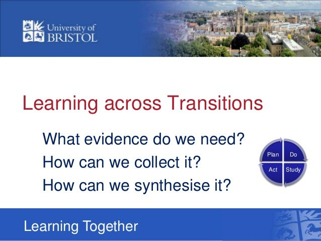 Learning across TransitionsWhat evidence do we need?How can we collect it?How can we synthesise it?Learning TogetherDoStud...