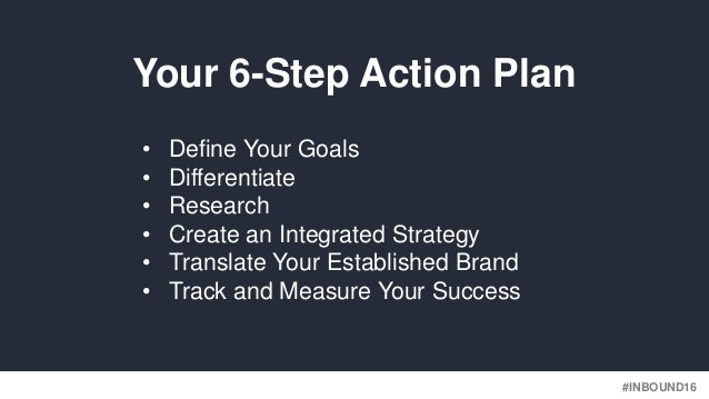 #INBOUND16 • Define Your Goals • Differentiate • Research • Create an Integrated Strategy • Translate Your Established Bra...