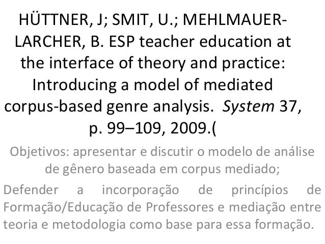 HÜTTNER, J; SMIT, U.; MEHLMAUER-LARCHER, B. ESP teacher education atthe interface of theory and practice:Introducing a mod...