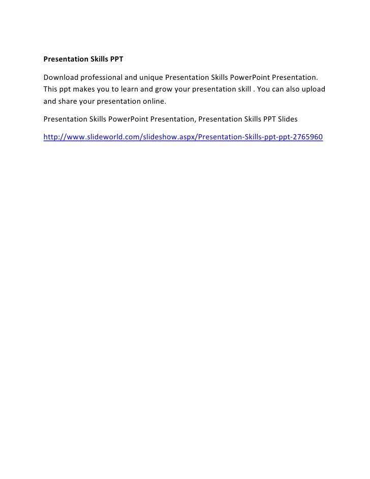 Presentation Skills PPTPresentation Skills PPTDownload professional and unique Presentation Skills PowerPoint Presentation...