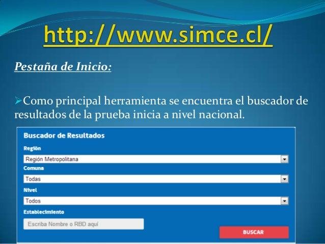 Pestaña de Inicio: Como principal herramienta se encuentra el buscador de resultados de la prueba inicia a nivel nacional.