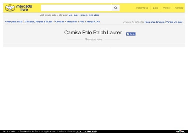 3d085743ff413 Camisa Polo Ralph Lauren. Você também pode se interessar  saia