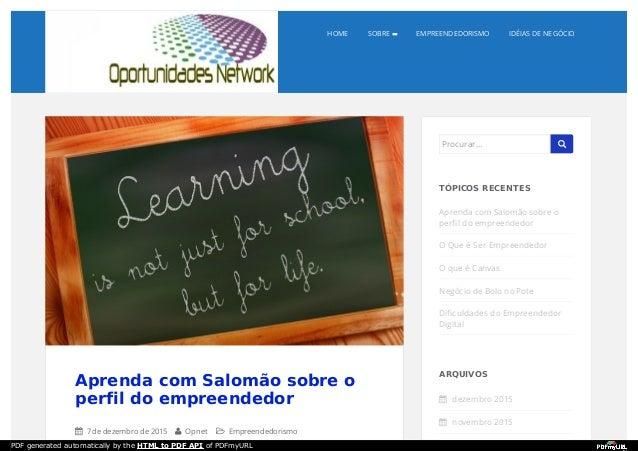 HOME SOBRE EMPREENDEDORISMO IDÉIAS DE NEGÓCIO Aprenda com Salomão sobre o perfil do empreendedor  7 de dezembro de 2015 ...