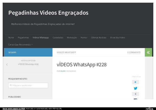 Pegadinhas Videos Engraçados Melhores Videos de Pegadinhas Engraçadas da internet VIDEOS WHATSAPP 0 COMMENTS vÍDEOS WhatsA...