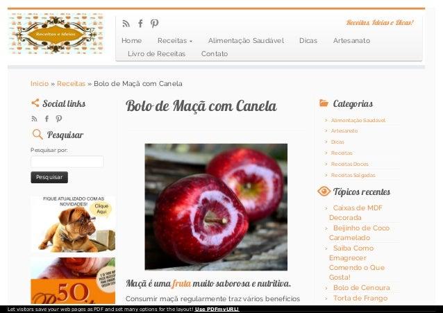 Bolo de Maçã com CanelaBolo de Maçã com Canela Maçã é umaMaçã é uma frutafruta muito saborosa e nutritiva.muito saborosa e...