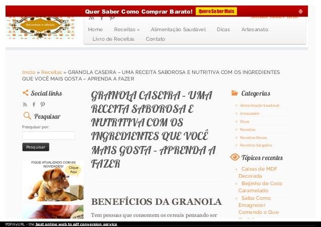 GRANOLA CASEIRA – UMAGRANOLA CASEIRA – UMA RECEITA SABOROSA ERECEITA SABOROSA E NUTRITIVA COM OSNUTRITIVA COM OS INGREDIEN...
