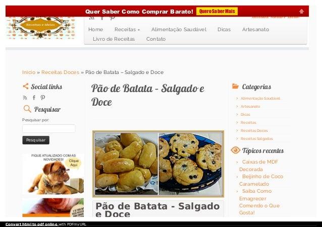 Pão de Batata - Salgado e Doce Pão de Batata – Salgado ePão de Batata – Salgado e DoceDoce Social linksSocial links Pesqui...
