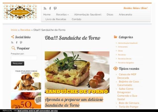 Oba!!! Sanduíche de FornoOba!!! Sanduíche de Forno Aprenda a preparar um deliciosoAprenda a preparar um delicioso Sanduích...