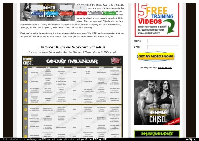 The Masters Hammer and Chisel Workout Calendar