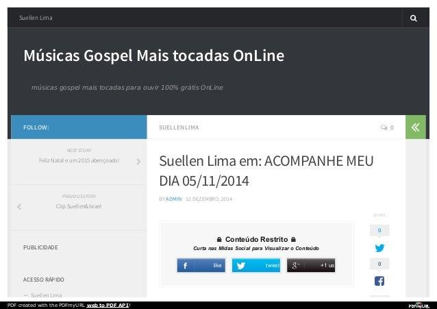 Músicas Gospel Mais tocadas OnLine músicas gospel mais tocadas para ouvir 100% grátis OnLine SUELLEN LIMA  0 Suellen Lima...