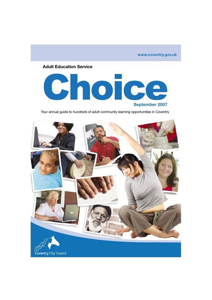 www.coventry.gov.uk    Adult Education Service                                                                September 20...