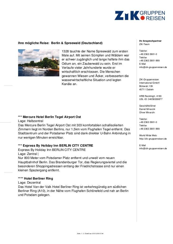 Ihr AnsprechpartnerIhre mögliche Reise: Berlin & Spreewald (Deutschland)                               ZiK-Team           ...