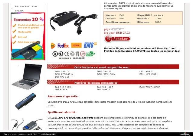 http://www.labatterie.fr/dell-xps-l701x-portable-batterie.html Slide 3