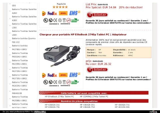 Batterie Toshiba Qosmio  List Prix: EUR 75.72 Prix Spécial: EUR 54.84 20% de réduction!  G50 Batterie Toshiba Satellite A2...