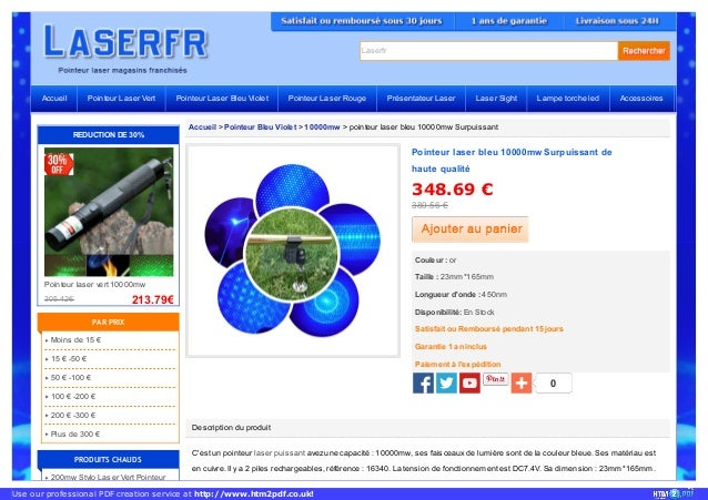 Laserfr Accueil > Pointeur Bleu Violet > 10000mw > pointeur laser bleu 10000mw Surpuissant Description du produit C'est un...