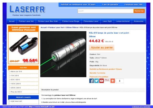 Laserfr Accueil > Pointeur Laser Vert > 300mw-700mw > KGL-619 lampe de poche laser vert point 300mw Description du produit...