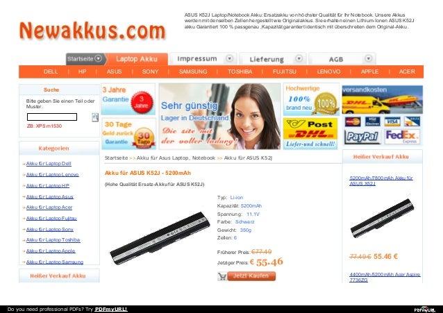 DELL | HP | ASUS | SONY | SAMSUNG | TOSHIBA | FUJITSU | LENOVO | APPLE | ACER ASUS K52J Laptop/Notebook Akku: Ersatzakku v...