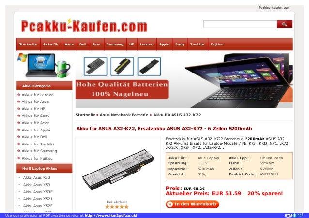 Akku Für : Asus Laptop Akku-Typ : Lithium-ionen Spannung : 11.1V Farbe : Schwarz Kapazität : 5200mAh Zellen : 6 Zellen Gew...
