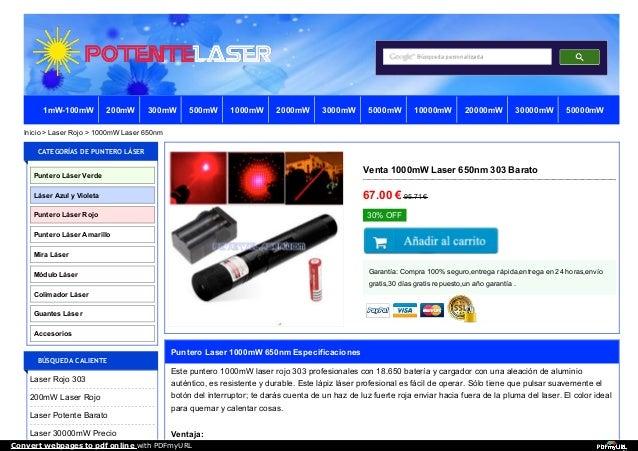 Venta 1000mW Laser 650nm 303 Barato 67.00 €95.71 € 30% OFF Garantía: Compra 100% seguro,entrega rápida,entrega en 24 horas...