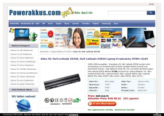 powerakkus.com Startseite Ersatzakku für Dell HP Asus Apple Sony Lenovo Toshiba Fujitsu Samsung Acer  Batterie Kategorie  ...