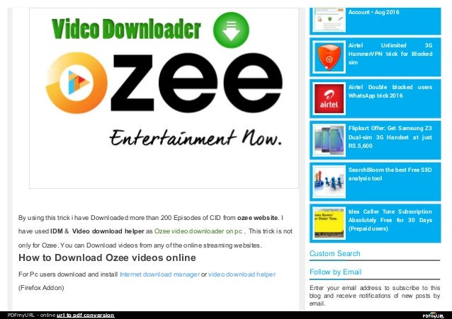 how to download videos from ozee online