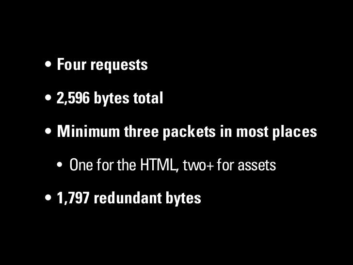 • Four requests• 2,596 bytes total• Minimum three packets in most places • One for the HTML, two+ for assets• 1,797 redund...