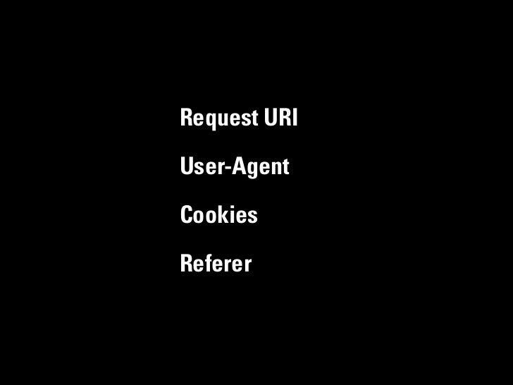 Request URIUser-AgentCookiesReferer