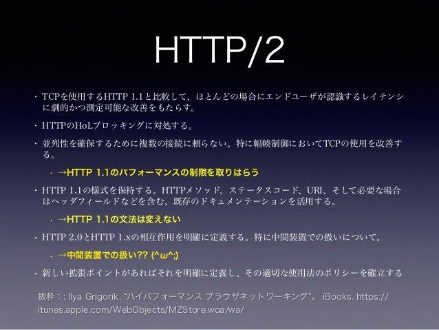 つまり  • HTTP 1.1のパフォーマンスの制限を解決する  • インタフェース(HTTPの文法)は変えない  • Webサイトのコンテンツに変更は必要ない  • HTTPSの様に、透過的に処理される