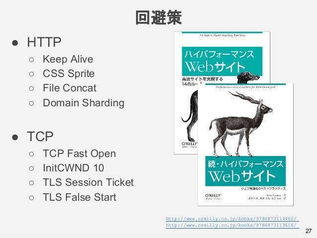 回避策 27 ● HTTP ○ Keep Alive ○ CSS Sprite ○ File Concat ○ Domain Sharding ● TCP ○ TCP Fast Open ○ InitCWND 10 ○ TLS Session ...
