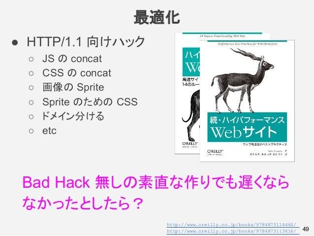 最適化 49 ● HTTP/1.1 向けハック ○ JS の concat ○ CSS の concat ○ 画像の Sprite ○ Sprite のための CSS ○ ドメイン分ける ○ etc Bad Hack 無しの素直な作りでも遅くな...
