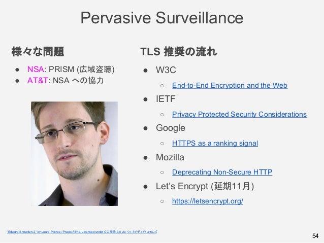 様々な問題 ● NSA: PRISM (広域盗聴) ● AT&T: NSA への協力 TLS 推奨の流れ ● W3C ○ End-to-End Encryption and the Web ● IETF ○ Privacy Protected ...