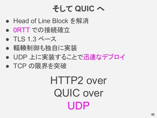 そして QUIC へ ● Head of Line Block を解消 ● 0RTT での接続確立 ● TLS 1.3 ベース ● 輻輳制御も独自に実装 ● UDP 上に実装することで迅速なデプロイ ● TCP の限界を突破 68 HTTP2 ...