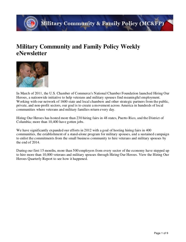 Image description. MC&FP banner image End of image description.Military Community and Family Policy WeeklyeNewsletterImage...