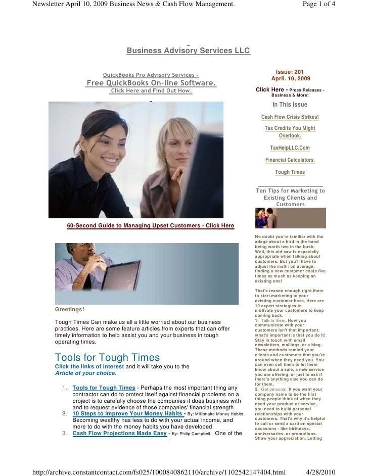 Newsletter April 10, 2009 Business News & Cash Flow Management.                                            Page 1 of 4    ...