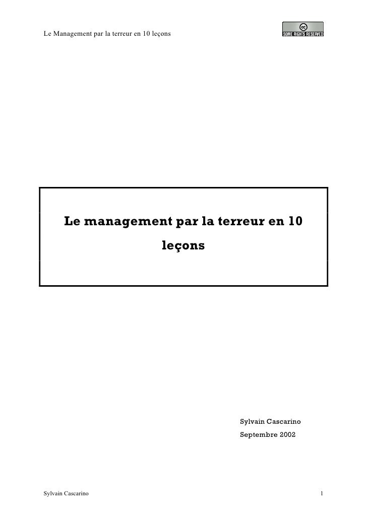 Le Management par la terreur en 10 leçons            Le management par la terreur en 10                                   ...