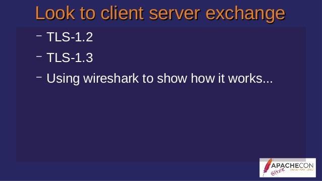 Look to client server exchangeLook to client server exchange – TLS-1.2 – TLS-1.3 – Using wireshark to show how it works...