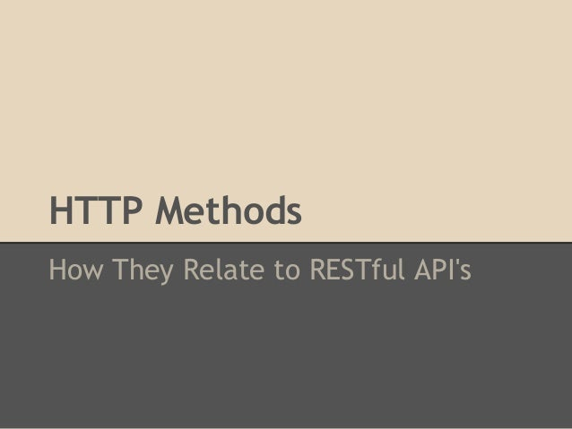 HTTP MethodsHow They Relate to RESTful APIs