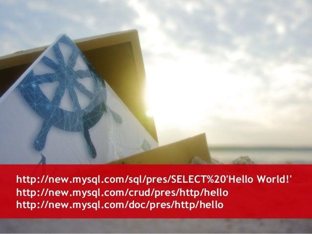 http://new.mysql.com/sql/pres/SELECT%20'Hello World!'  http://new.mysql.com/crud/pres/http/hello  http://new.mysql.com/doc...