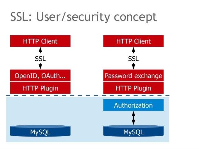 SSL: User/security concept  HTTP Client  SSL  OpenID, OAuth...  HTTP Plugin  MySQL  HTTP Client  SSL  Password exchange  H...