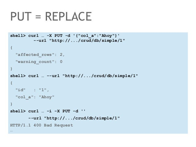 """PUT = REPLACE  shell> curl … -X PUT -d '{""""col_a"""":""""Ahoy""""}'  --url """"http://.../crud/db/simple/1""""  {  """"affected_rows"""": 2,  """"w..."""