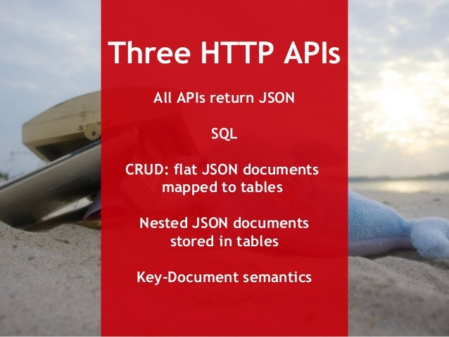 Three HTTP APIs  All APIs return JSON  SQL  CRUD: flat JSON documents  mapped to tables  Nested JSON documents  stored in ...