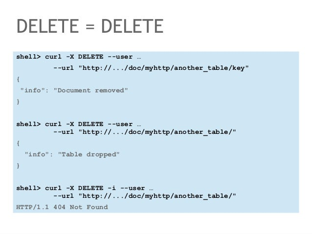 """DELETE = DELETE  shell> curl -X DELETE --user …  --url """"http://.../doc/myhttp/another_table/key""""  {  """"info"""": """"Document rem..."""