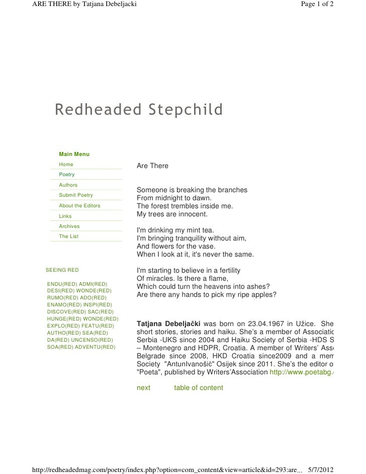 ARE THERE by Tatjana Debeljacki                                                     Page 1 of 2       Redheaded Stepchild ...