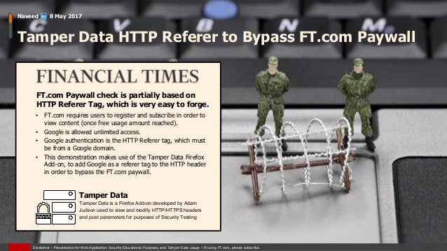 Tamper Data HTTP Referer to Bypass FT com Paywall