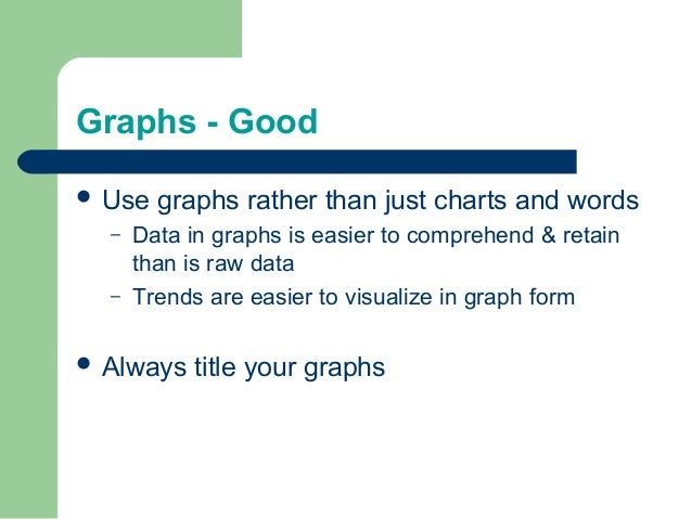 Graphs - Good  Use graphs rather than just charts and words – Data in graphs is easier to comprehend & retain than is raw...