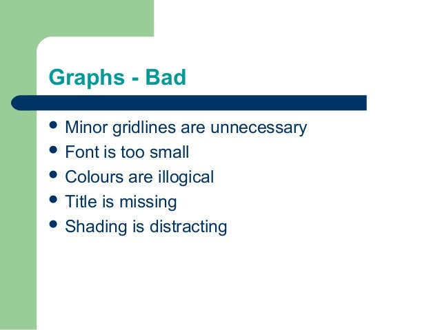 Graphs - Bad  Minor gridlines are unnecessary  Font is too small  Colours are illogical  Title is missing  Shading is...