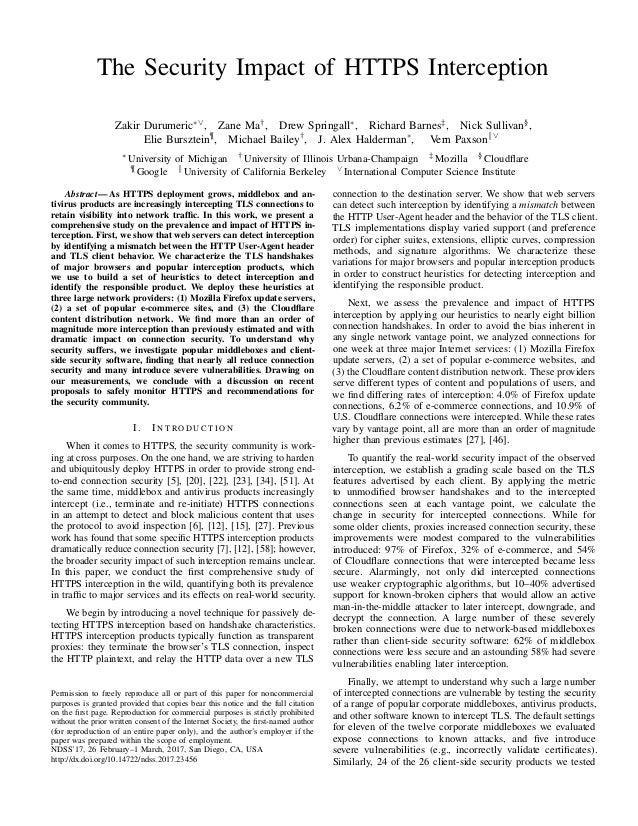 The Security Impact of HTTPS Interception Zakir Durumeric∗∨, Zane Ma†, Drew Springall∗, Richard Barnes‡, Nick Sullivan§, E...