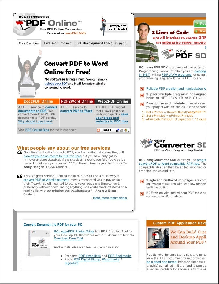 Free Services     End-User Products      PDF Development Tools Support                                                    ...