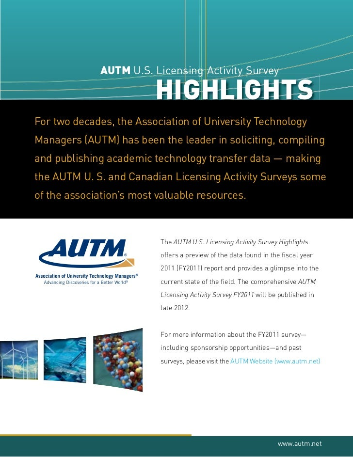 AUTM U.S. Licens g Activity Survey                        Lic s                        Lice sing                        Li...